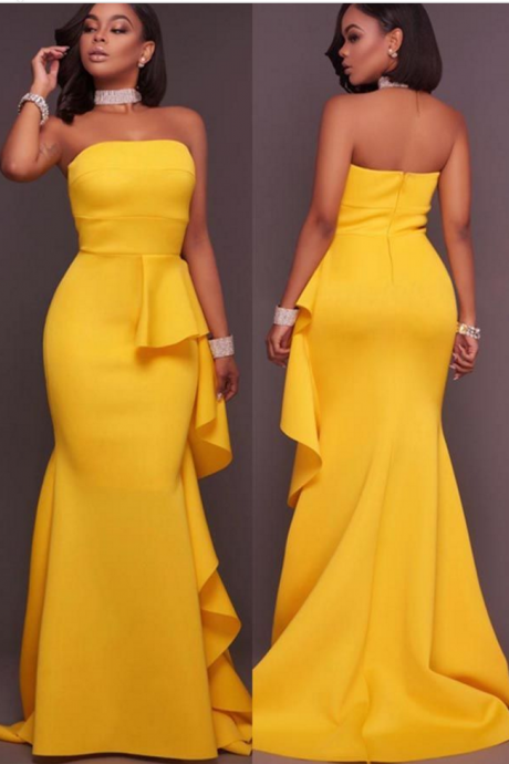 Strapless Yellow Formal Occasion Dress