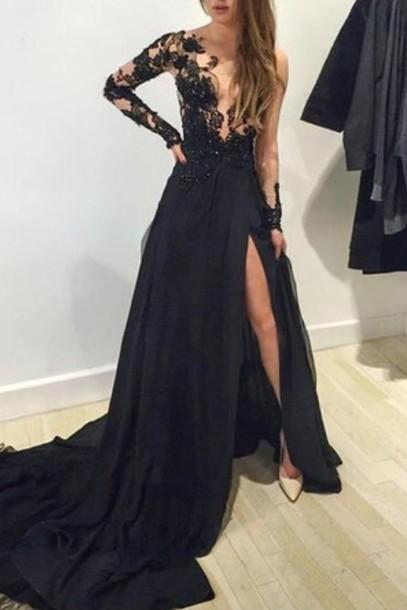 Prom Dresses With Train, Black Lace Formal Dresses, Backless Formal Dress, Black Prom Dress