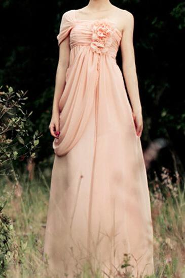 Pretty Light Pink One-Shoulder Chiffon Bridesmaid Dresses 2018, Bridesmaid Dresses, Formal Dresses, Evening Dresses
