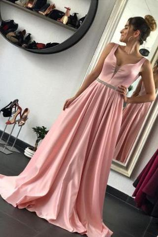 A Line Long Evening Dresses, Sexy Pink Prom Dresses