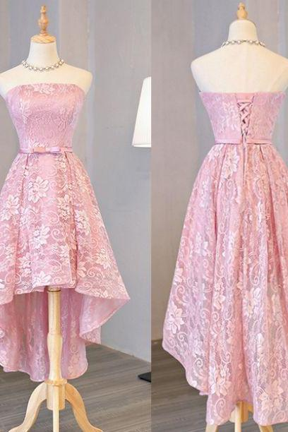 Charming Prom Dress,Lace Prom Dresses,Strapless Prom Dresses,High/Low Evening Dress