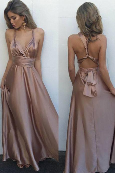 Sexy Blush V-Neck Sleeveless Prom Dresses,Floor Length Prom Dress