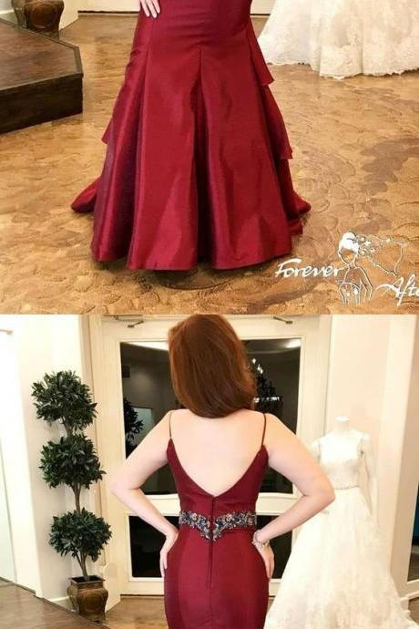 Sexy Straps Burgundy Mermaid Long Formal Evening Dress