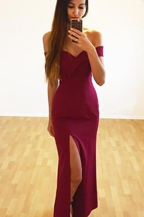 Burgundy Prom Dresses,Burgundy Evening Gowns,Mermaid Prom Dresses,Mermaid Evening Dress