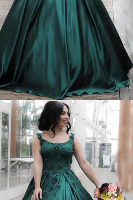 Hunter Green Lace Flowers Embroidery Satin Ball Gowns Floor Length Engagement Dress