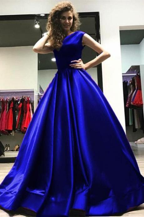 royal blue bridesmaid dresses long satin formal prom evening gowns